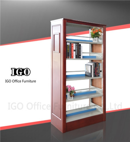 IGO-BS04 Library Book Shelf with Wooden Panels