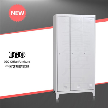 3 Doors Steel Wardrobe with Support