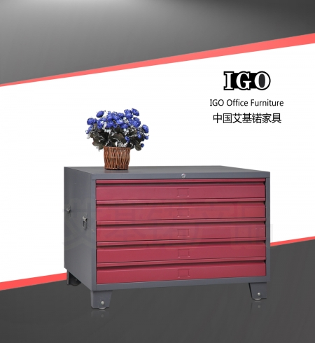 IGO-DW05 5 drawers steel drawing files storage cabinet