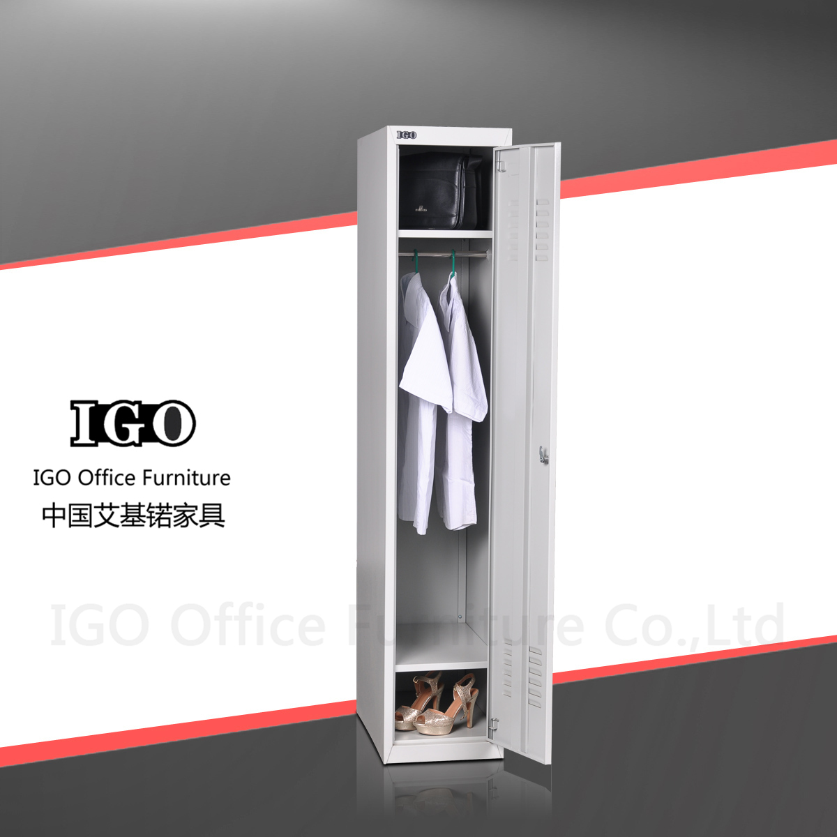 1 Tier Steel Personal Lockers With Mirror